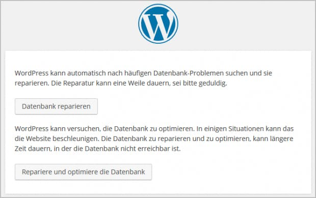 WordPress: Datenbakn optimieren/reparieren