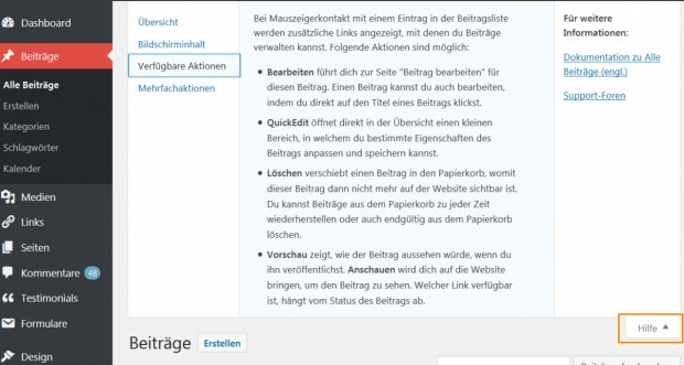 WordPress: Die kontextsensitive Hilfe