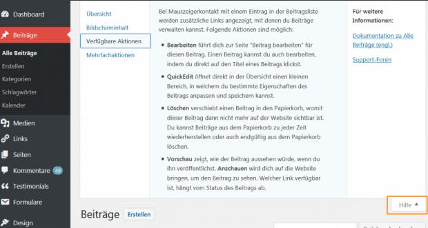 WordPress: Die kontextsensitive Hilfe