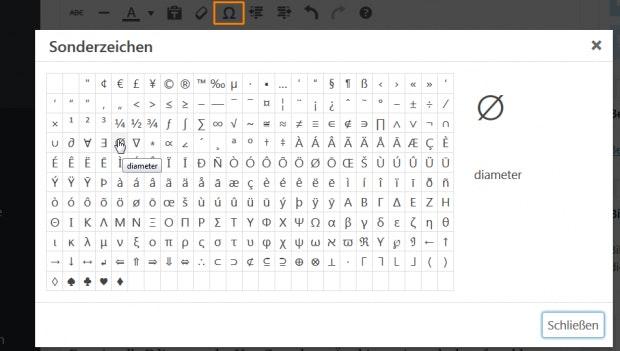 WordPress: Sonderzeichen im alten Editor einfügen