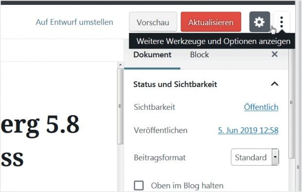 WordPress: Tastenkürzel in Gutenberg