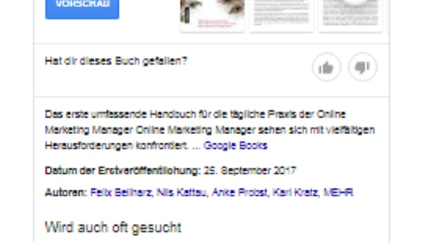 Beispiel Knowledge-Panel Buch. (Screenshot: O. Kopp)
