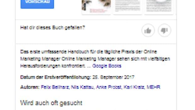 Beispiel Knowledge-Panel Buch. (Screenshot: O. Kopp)