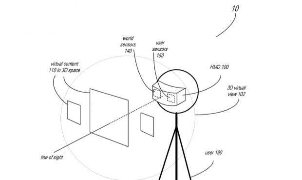 Apples AR-Brille soll dem Patentantrag zufolge nicht nur die Außenwelt mit Sensoren erfassen, sondern auch Teile des Gesichts. (Screenshot: USPTO)