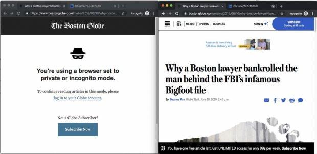 """Mit dem """"echten"""" Inkognitomodus in Chrome 76 wird der Fehler in der FileSystem API behoben und ermöglicht Zugriff auf Paywall-Artikel.(Screenshot: <a href=""""https://twitter.com/paul_irish/status/1138471166115368960"""">Paul Irish</a>)"""