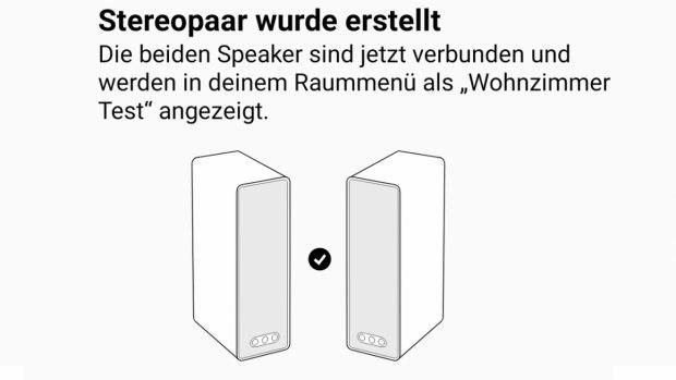 In der Sonos-App lassen sich die Ikea Symfonisk-Speaker als Stereopaar koppeln. (Bild: t3n)