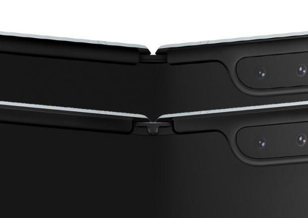 Samsung Galaxy Fold – das untere, überarbeitete Modell kommt mit Schutzkappen auf dem Scharnier. (Bild: Samsung; The Verge)
