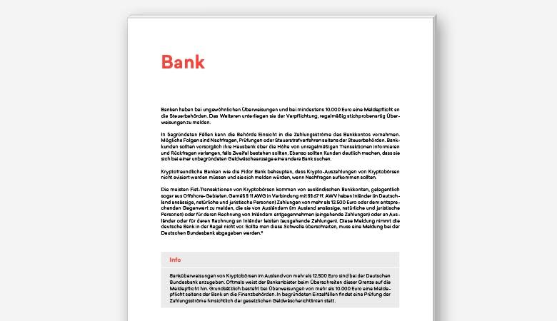 Viele relevante Fragen, wie zum Beispiel eine mögliche Meldepflicht bei der Bank, werden im Guide geklärt