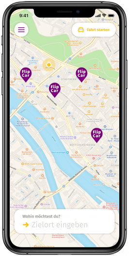 So sieht die Mietwagen-App von Flipcar aus. (Screenshot: Flipcar)