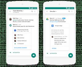 In Googles Hangouts-Chat sind Schnittstellen zu anderen Google-Diensten wie Kalender und Drive integriert. (Screenshot: Google)