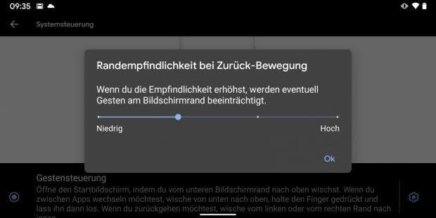 Unter Android 10 Q könnt ihr die Randempfindlichkeit der Zurückgeste einstellen. (Screenshot: t3n)