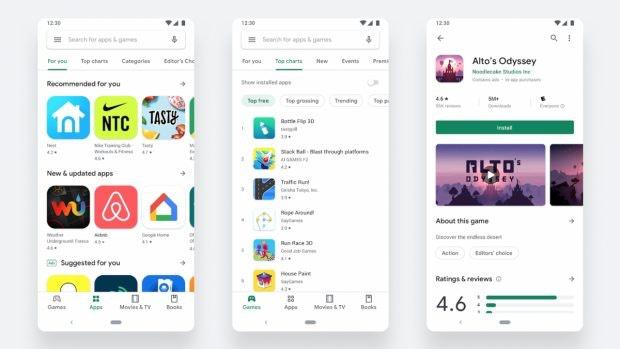Google Play Store – das Redesign ist da. (Bild. Google)