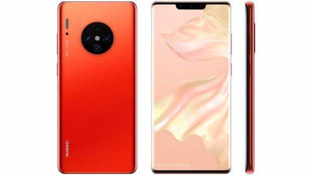"Huawei Mate 30 Pro. (Renderbild: <a href=""https://twitter.com/BenGeskin/status/1160821731629641728"">Venja Geskin</a>)"