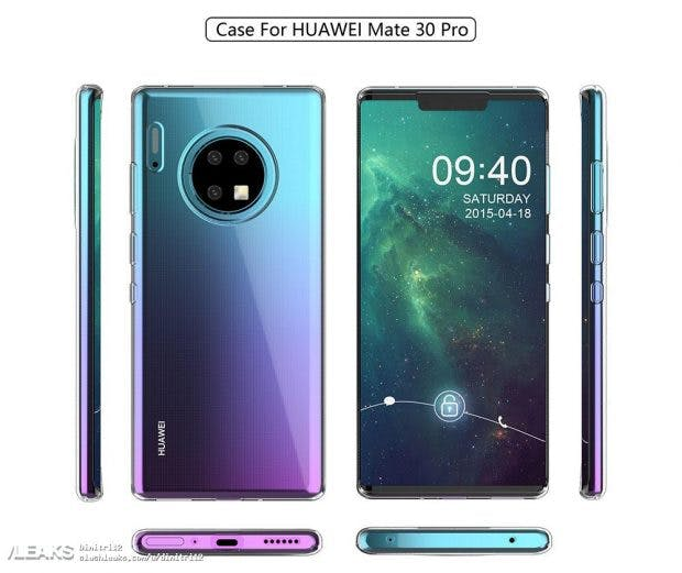So könnte das Huawei Mate 30 Pro vielleicht aussehen. (Bild: via Slashleaks)