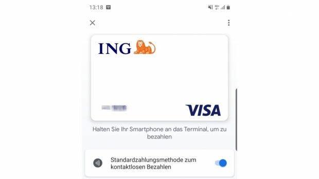 Google Pay mit Ing-Visa-Karte . (Screenshot: t3n)