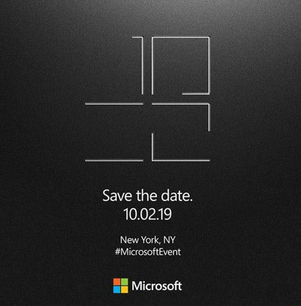 Das Microsoft Surface Event 2019 findet am 2. Oktober in New York statt. (Bild: via The Verge)