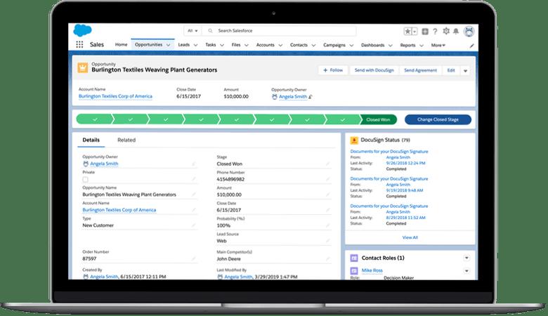 Das übersichtliche Dashboard des Salesforce CRM Lightning mit Integration von DocuSign