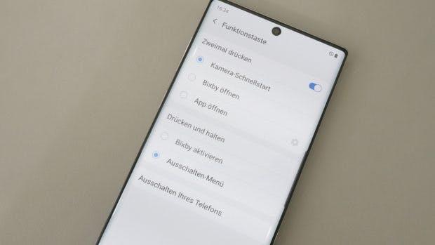 Der Bixby- wird gleichzeitig zum Powerbutton beim Samsung Galaxy Note 10 (Plus). (Foto: t3n)