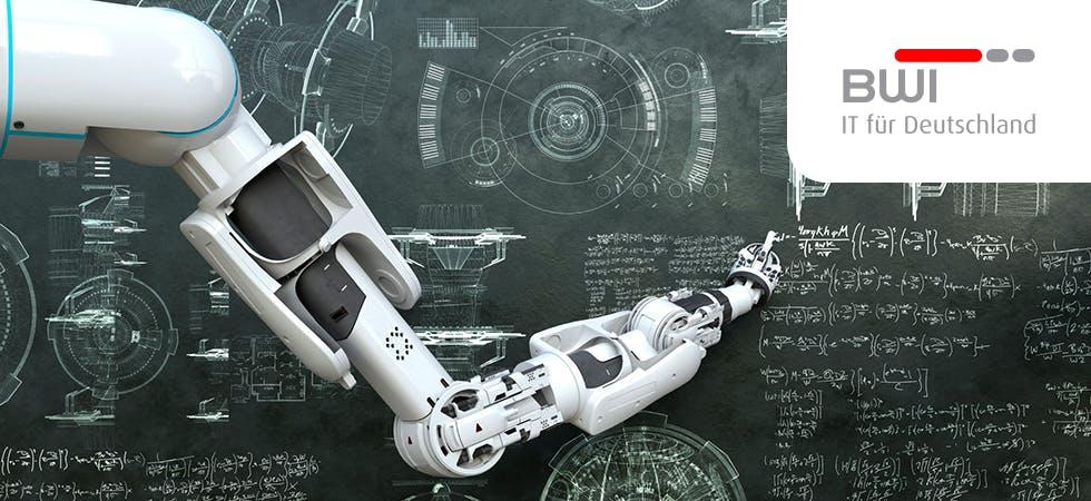 Intelligenter Roboter-Arm schreibt Formeln an Kreidetafel