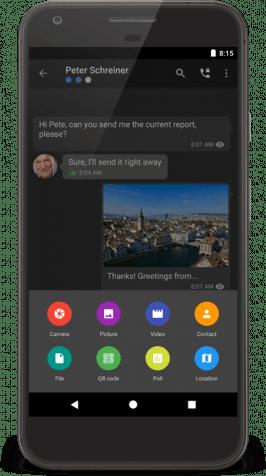 Der Funktionsumfang von Threemawork besteht lediglich aus bodenständigen Messenger-Funktionen. Umso stärker punktet der Dienst in Sachen Sicherheit. (Screenshot: Threema)