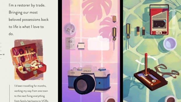 """""""Assemble with Care"""" ist ein entschleunigtes, story-getriebenes Puzzle-Game von Ustwo Games – den Machern von des preisgekrönten Perspektiven-Puzzlers Monument Valley. Hier lernt ihr die Bewohner eines Dörfchens kennen und bereichert ihr Leben, indem ihr ihre Elektrogeräte repariert – und dabei mit ihnen redet. (Screenshot: Ustwo Games)"""