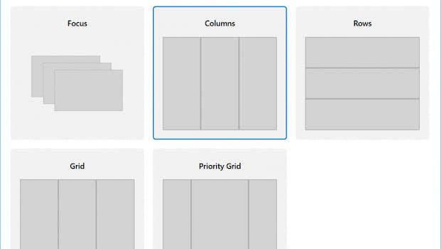 Im Einstellungen-Dialog für Powertoys hat man unterschiedliche Layouts zu Wahl. Neben vorgefertigten kann man auch völlig neue anlegen. (Screenshot: Microsoft)