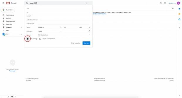 Gmail - Große E-Mails suchen.