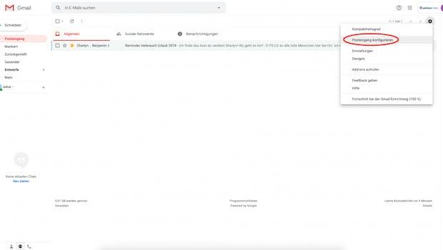 """Um die Tabs zu aktivieren, klickt ihr im Zahnrad-Menü oben rechts auf """"Posteingang konfigurieren"""". (Screenshot: t3n)"""