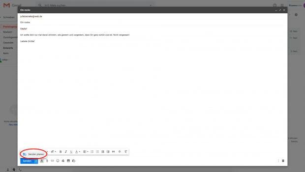 """Klickt dafür, nachdem eure Mail fertig ist, auf den kleinen Pfeil neben dem """"Senden""""-Button und wählt """"Senden planen""""."""
