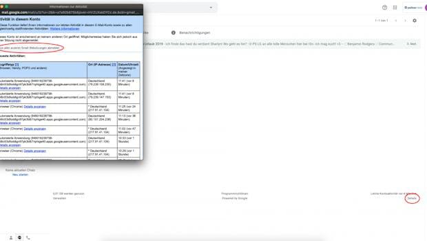"""Im Webinterface von Gmail findet ihr die Möglichkeit etwas versteckt bei dem kleinen """"Details""""-Button unten rechts. Im sich öffnenden Fenster könnt ihr die Aktivitäten eures Kontos nachverfolgen und euch mit """"Aus allen anderen Gmail-Websitzungen abmelden"""" genau das tun. (Screenshot: t3n)"""