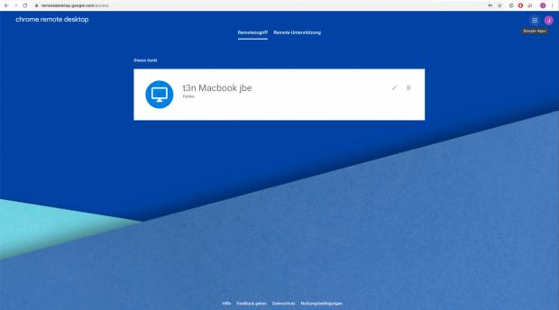 Google Chrome Remote Desktop Verbindungsfenster im Browser.