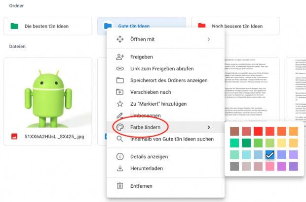 Kontextmenü in Google Drive zum Einfärben von Ordnern.