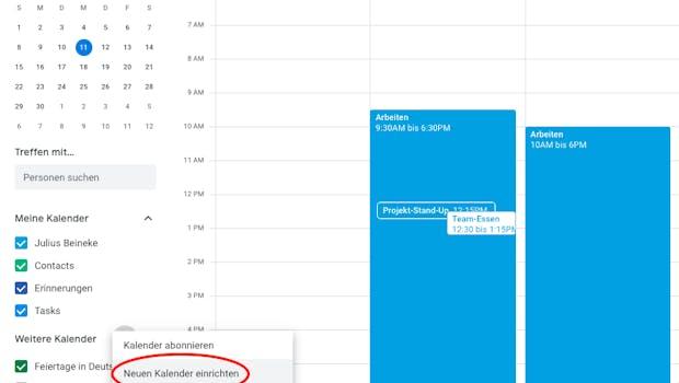 """Klickt zum Erstellen eines neuen Kalenders auf das Plus-Symbol neben """"Weitere Kalender"""" (im """"Hamburger""""-Menü) und auf """"Neuen Kalender einrichten"""". (Screenshot: t3n)"""