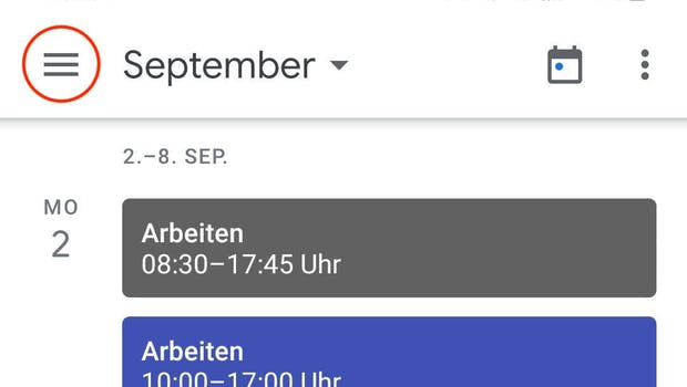Ein Tipp auf die drei Linien öffnet das Menü der Google-Kalender-App für Android. (Screenshot: t3n)