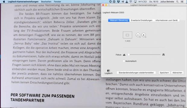 Logitech-Kameraeinstellungen unter MacOS.