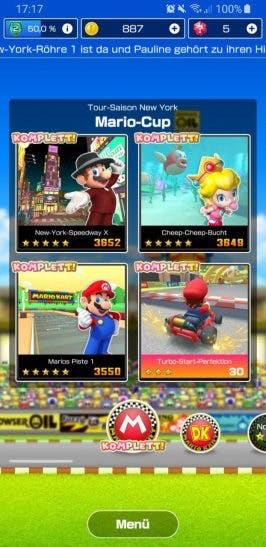 Hauptmenü von Mario Kart Tour