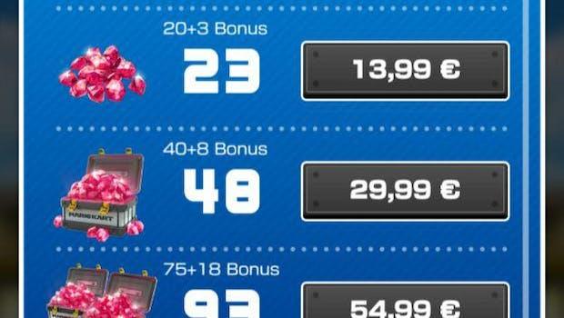 Rubine sind eine In-Game-Währung bei Mario Kart Tour. Von ihnen kauft man  unter anderem Lootboxen. (Screenshot: t3n)