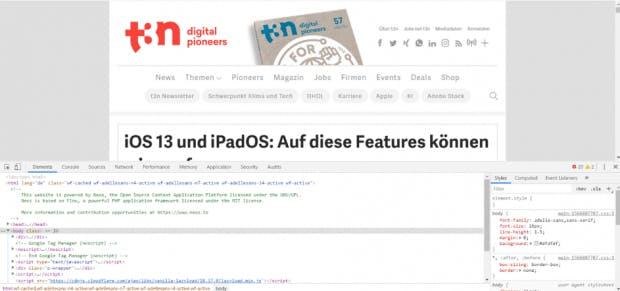 Entwicklertools von Google Chrome