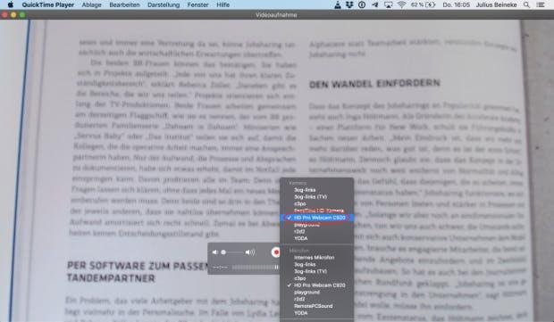 Bildquelle-Auswahl im QuickTime-Player.