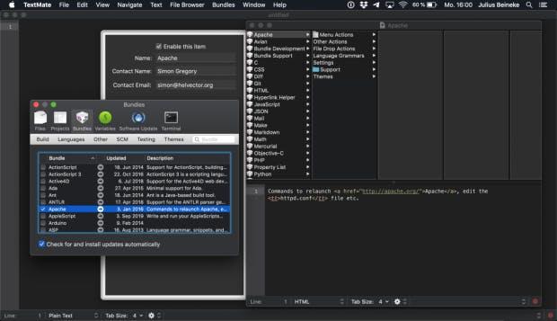 Bundles-Menü im Text-Editor TextMate 2.0.