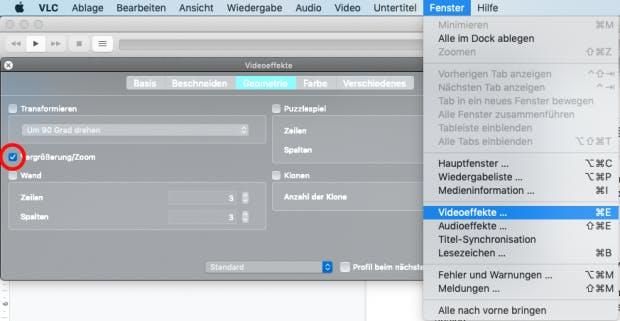 Zoom aktivieren im VLC Player unter MacOS.