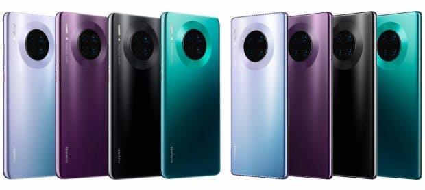Alle Farben des Huawei Mate 30 und 30 Pro. (Bild: Evleaks)