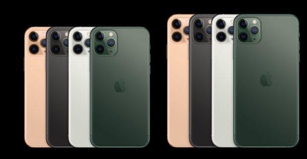 Die Farben des iPhone 11 Pro und 11 Pro Max. 8Bild: Apple)