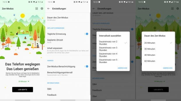 Einfach mal des Handy weglegen: Oneplus 7T mit Zen-Modus. (Screenshots: t3n)