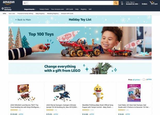 Spielzeug-Empfehlungen zu Weihnachten: Bis zu zwei Millionen US-Dollar sollen Marken dafür an Amazon zahlen. (Screenshot: Amazon.com)