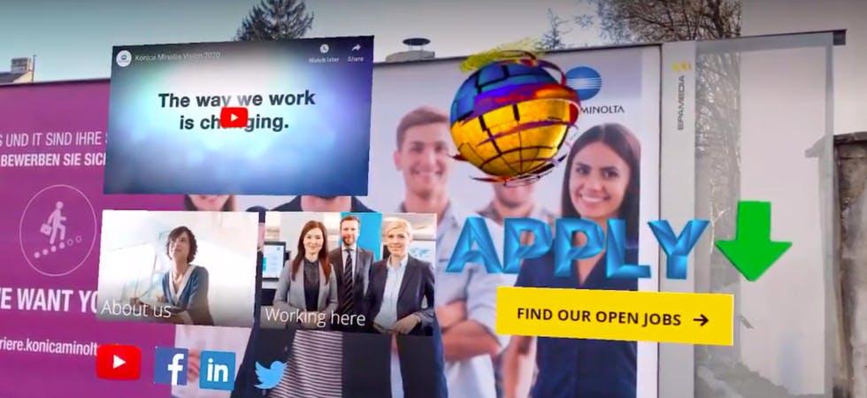 Eine durch AR-Technologie aufgewertet Plakatwerbung, die in diesem Fall auf offen Stellen eines Unternehmens hinweist