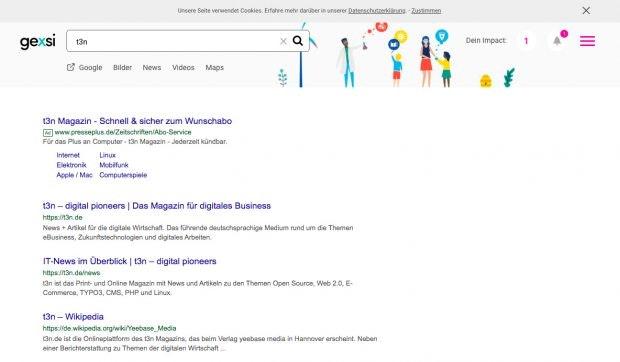 Gexsi unterstützt Sozialunternehmen. (Screenshot: Gexsi / t3n)