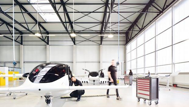 Der Lilium-Jet in der Produktionshalle bei München. (Foto: Lilium)