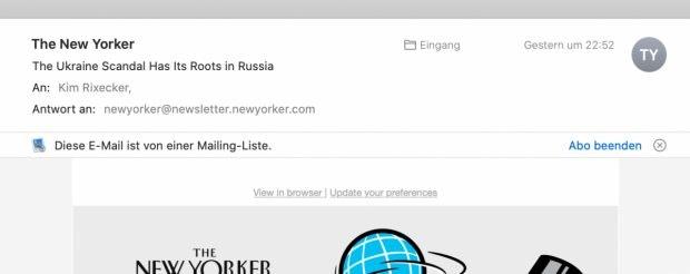 macOS Catalina: Mail-App vereinfacht die Newsletter-Abmeldung. (Screenshot: macOS / t3n)