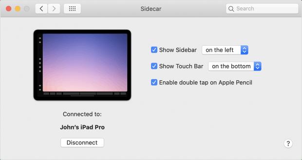 Über die Systemeinstellungen steuert ihr Sidecar. (Screenshot: Apple)